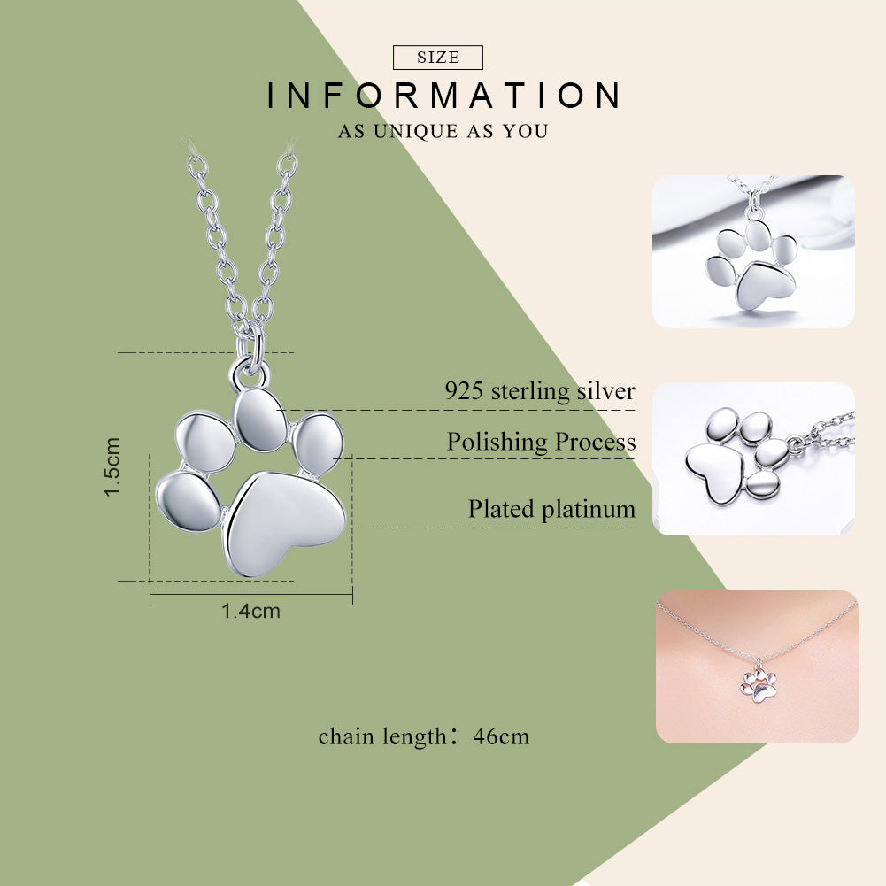 BAMOER Genuine 925 Sterling Silver Cute Animal Footprints Dog Cat Footprints Necklaces Pendants Women Silver Jewelry SCN275-2