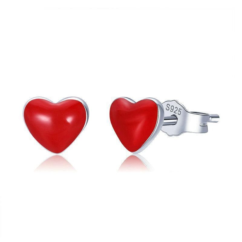 Trendy Tiny Red Heart Enamel Earring Girl Jewelry Gift Real 925 Sterling Silver Stud Earrings Female Fine Jewelry VSE147