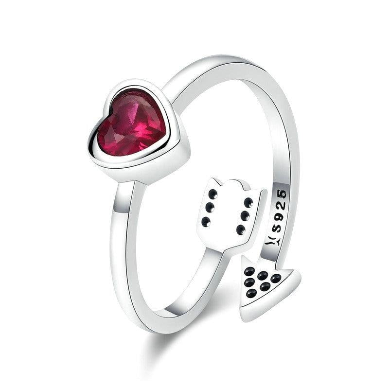 925 Sterling Silver Ladies Heart Clear CZ Band