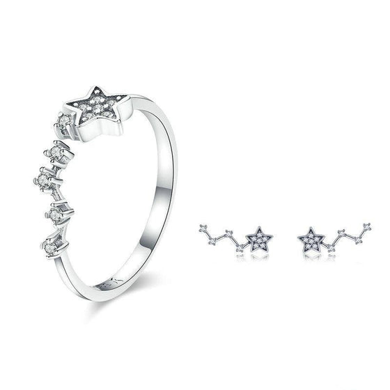 BAMOER Authentic 925 Sterling Silver Sparkling Star Clear CZ Rings Earrings for Women Jewelry Set Sterling Silver Jewelry Gift