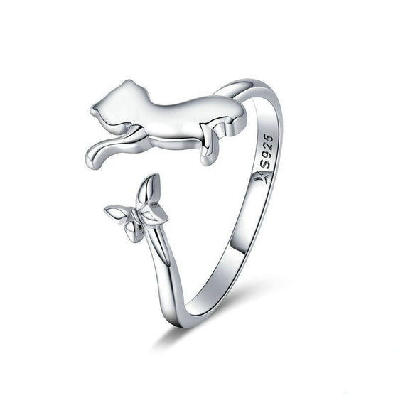 BAMOER Authentic 925 Sterling Silver Butterfly Tail Cat Adjustable Finger Rings for Women Sterling Silver Ring Jewelry SCR443 | BAMOER