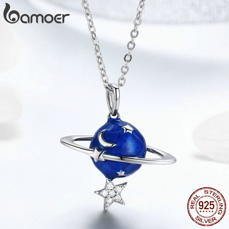 BAMOER Hot Sale 100% 925 Sterling Silver Secret Planet Moon Star Necklaces Pendants for Women Sterling Silver Jewelry BSN007