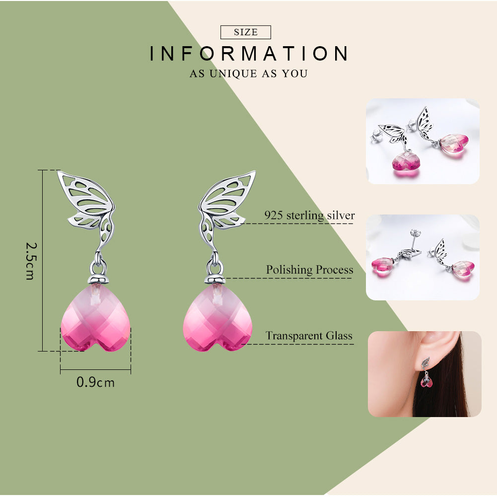 BAMOER New Arrival 925 Sterling Silver Hope Wings Pink Crystal Heart Drop Earrings for Women Wedding Engagement Jewelry BSE015 | BAMOER