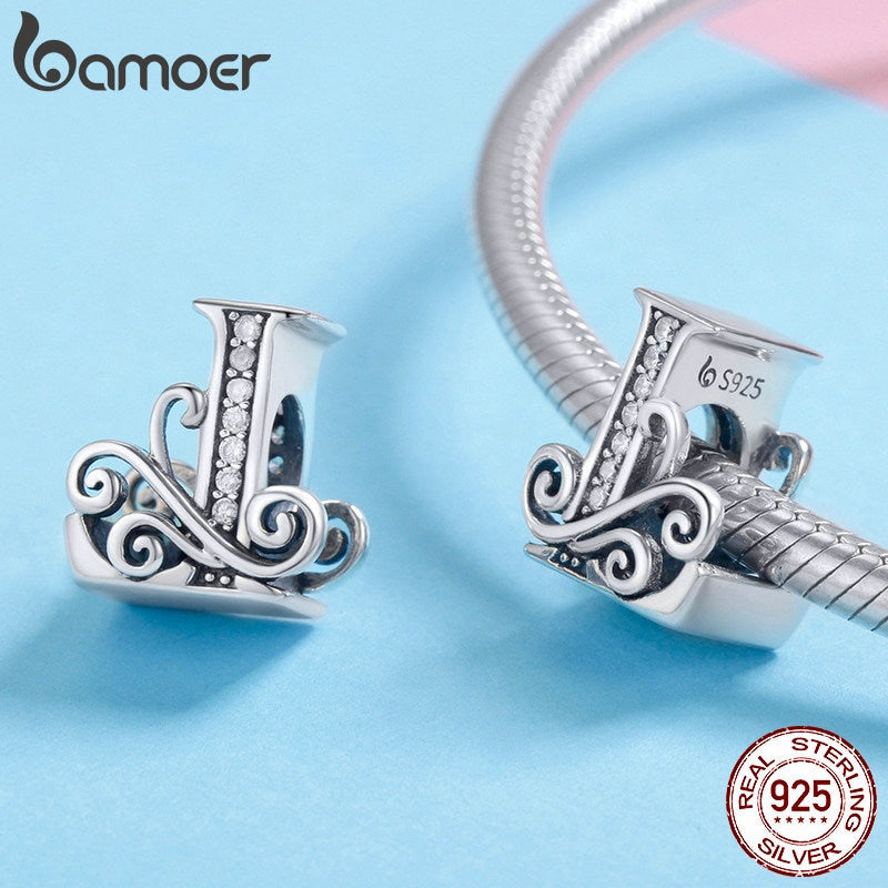 BAMOER 925 Sterling Silver LOVE Letter Alphabet LOVE Beads Charms Fit Charm Bracelets DIY Accessories Girlfriend Gift BSC030-L