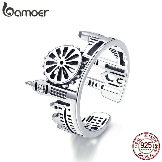 BAMOER High Quality 925 Sterling Silver London City Finger Ring British Building Rings for Women Cocktail Wedding Jewelry SCR474 | BAMOER