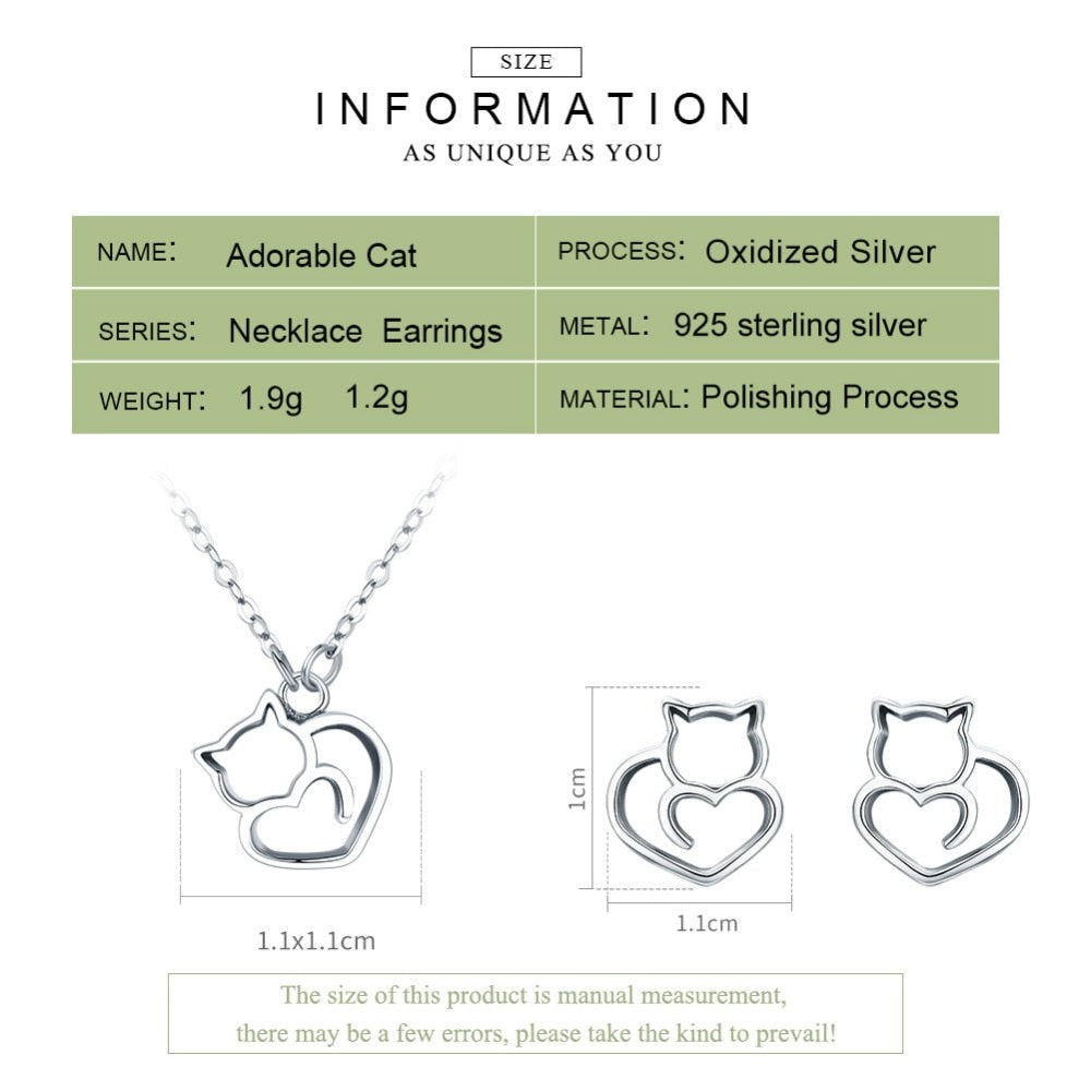 BAMOER Hot Sale 925 Sterling Silver Fashion Cute Cat Animal Earrings Rings Women Jewelry Sets Wedding Silver Jewelry ZHS093