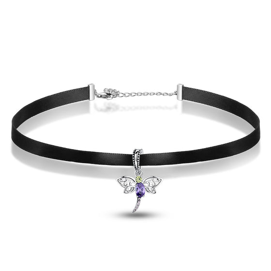 925 Sterling Silver Green Purple Cz Dragonfly Pendant Choker Necklace Pendants Jewelry SCA011+SCC048