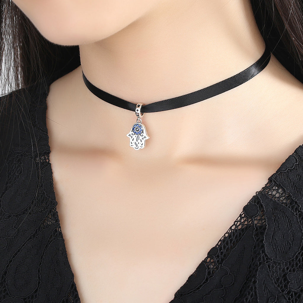 New Fashion 925 Sterling Silver Palm Pendant Choker Necklace Pendants Jewelry SCA011+SCC085
