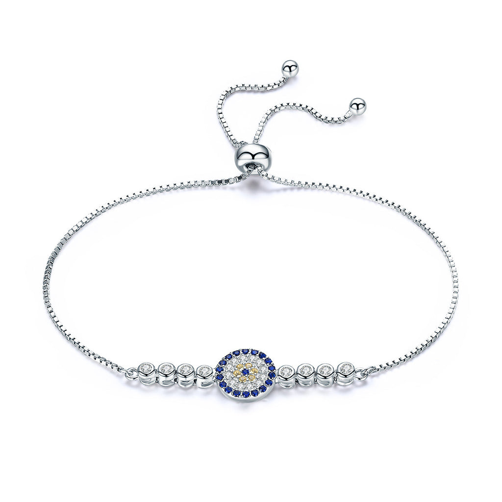 925 Sterling Silver Lucky Round Blue Eyes Power Tennis Bracelet Pave CZ Adjustable Link Chain Bracelets Jewelry SCB006