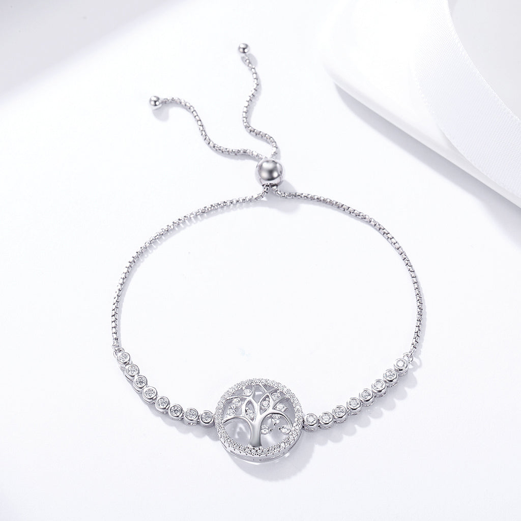 100% 925 Sterling Silver Tree of Life Tennis Bracelet Women Adjustable Link Chain Bracelet Silver Jewelry SCB035