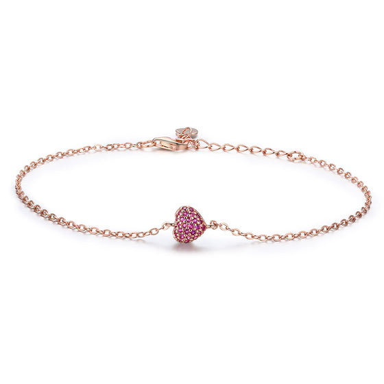 925 Sterling Silver Rose Gold Romantic Heart Chain Link Bracelet Women Adjustable Lobster Clasp Bracelet Jewelry SCB050