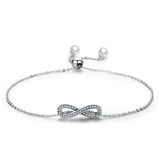 Real 100% 925 Sterling Silver Infinity Love Chain Link Women Bracelet Sterling Silver Jewelry Valentine Day Gift SCB056