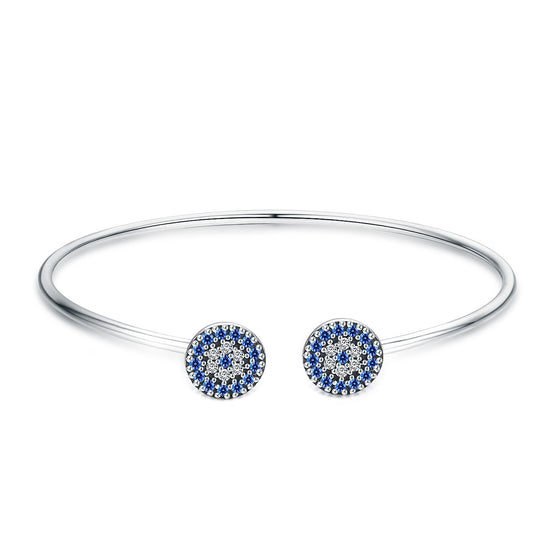 2018 New 100% 925 Sterling Silver Lucky Blue Eyes Blue CZ Women Open Cuff Bangle & Bracelet Luxury Silver Jewelry SCB058