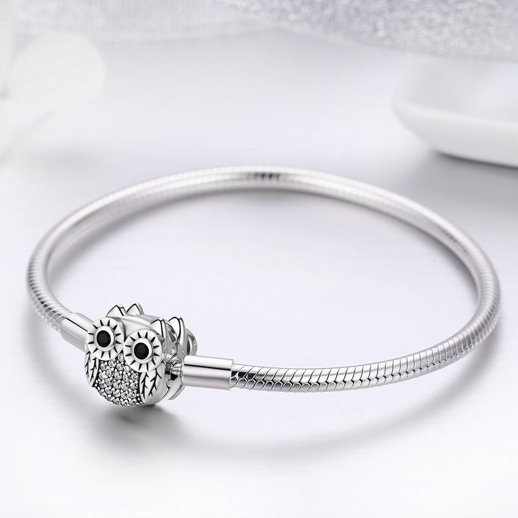 Authentic 100% 925 Sterling Silver Cute Animal Owl Clasp Women Snake Chain Bracelet Sterling Silver Jewelry S925 SCB067