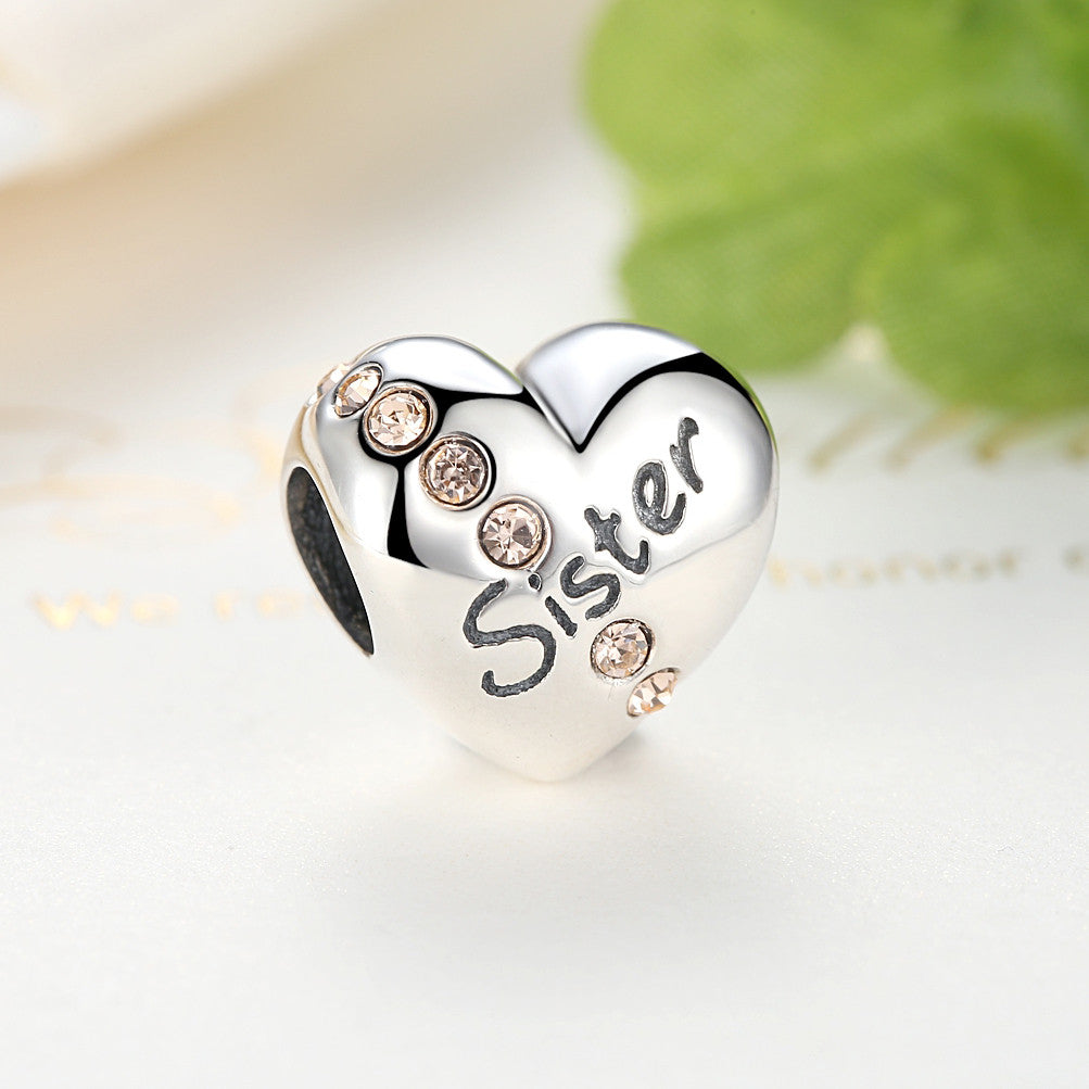 925 Sterling Silver Famliy Trees Series Teen Girl Sister Love Heart Strings Pendants Pink Czech Diamond DIY Jewelry SCC008