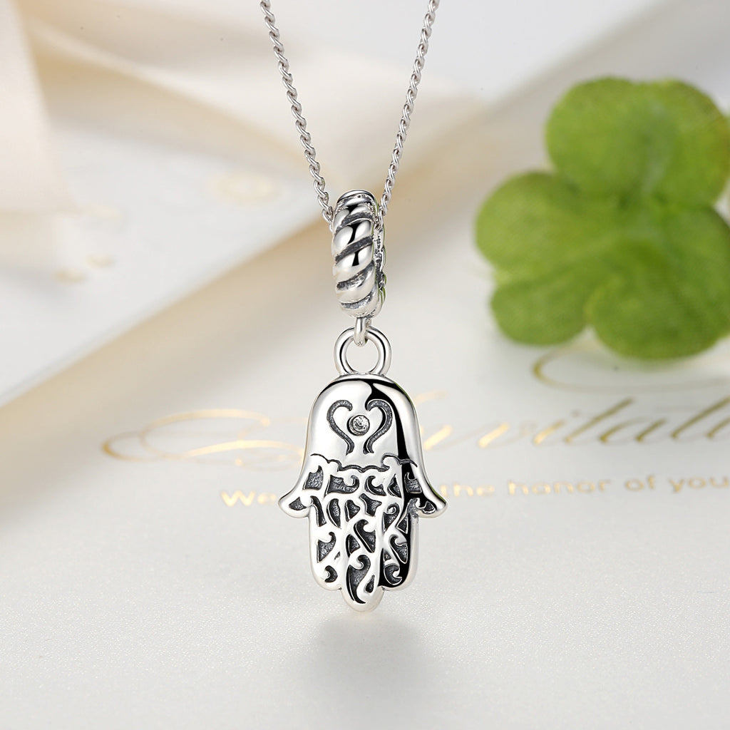 925 Sterling Silver Lovely Lucky Symbol Egyptian Fatima Hamsa Hand Pendant Necklace for Women and Men Fine Jewelry SCC031