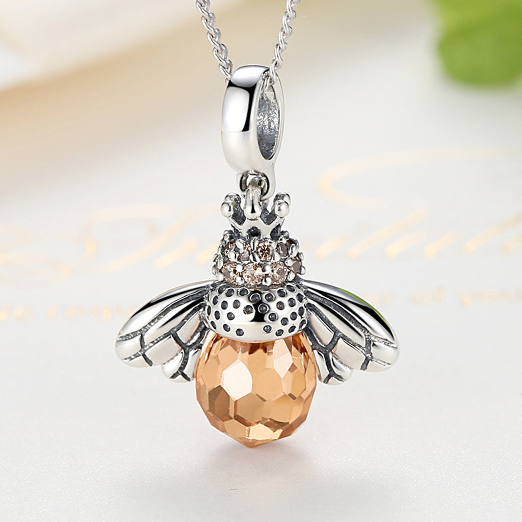 925 Sterling Silver Cute Orange Queen Bee Animal Pendant Necklace for Women Fashion Jewelry SCC035