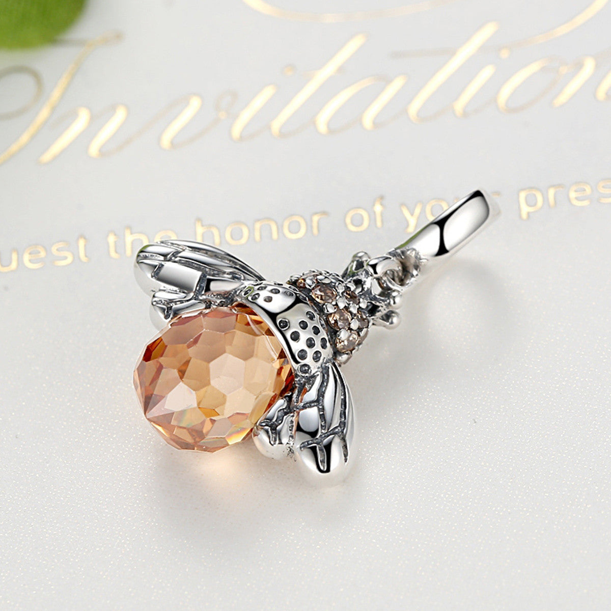 Queen bee pendant necklace bamoer 925 sterling silver cute orange queen bee animal pendant necklace for women fashion jewelry scc035 aloadofball Gallery