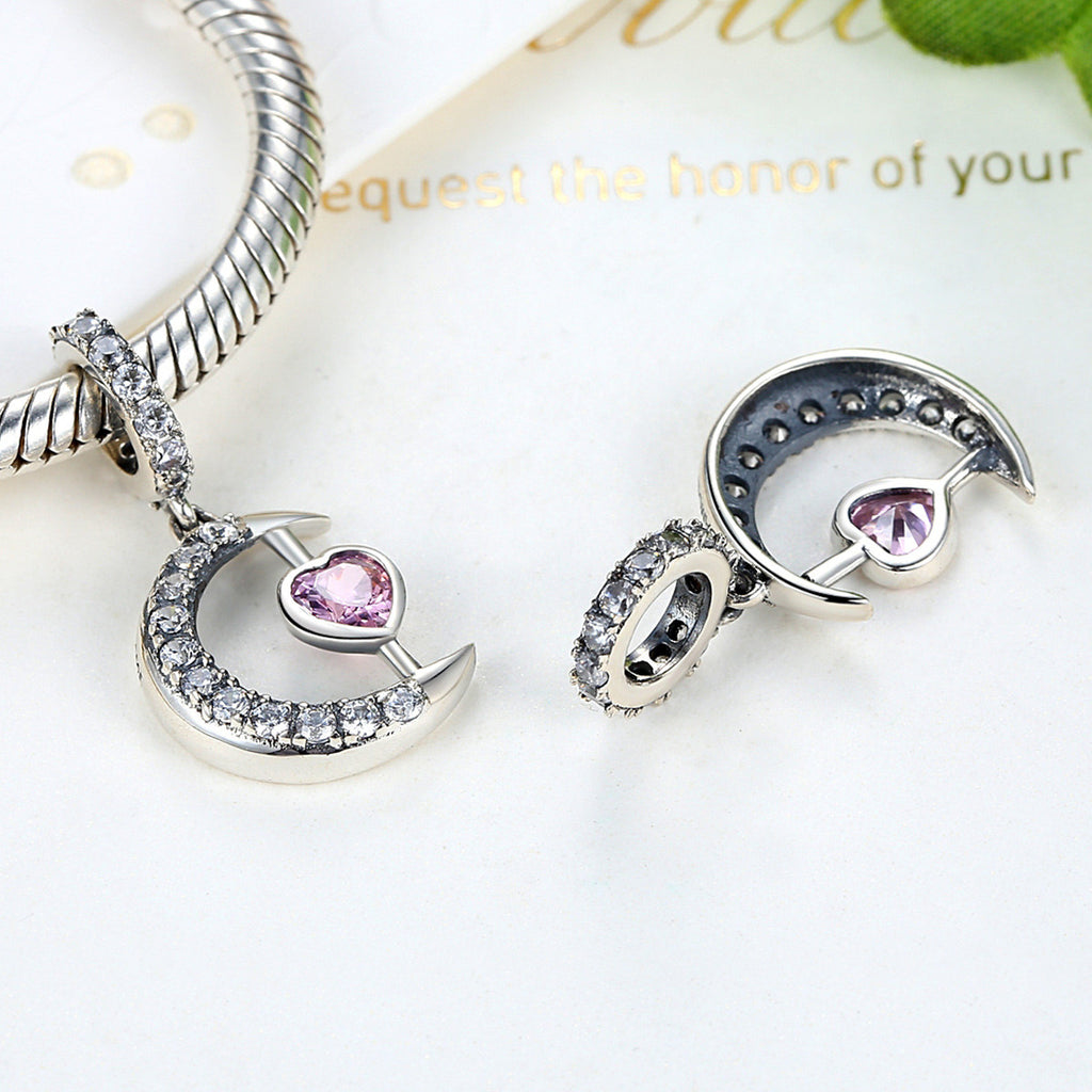 100% 925 Sterling Silver Pink Moon Heart Pendants Charms fit DIY Beads & Jewelry Makings Accessories SCC040