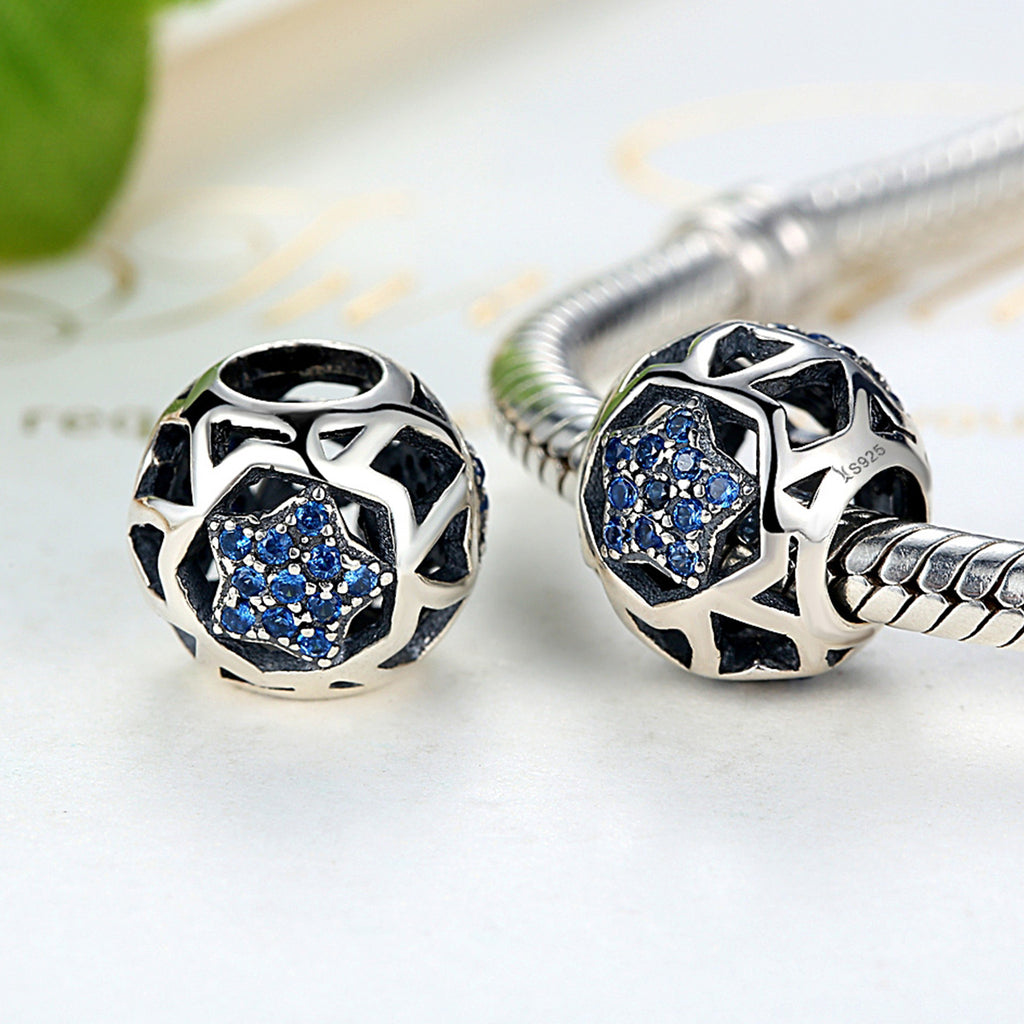 Sterling Silver Vintage Blue STARS Beads Charms | BAMOER