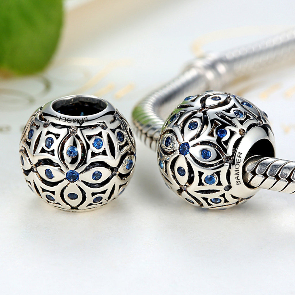 925 Sterling Silver Charms With Blue Crystals S925 Bead Charm fit Bracelets & Bangles for Women Jewelry SCC059