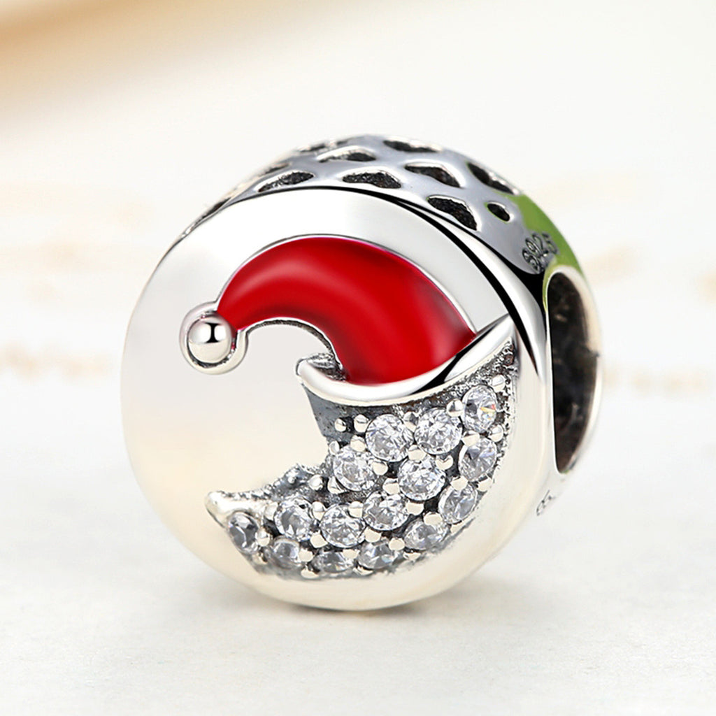 925 Sterling Silver Christmas Collection  Christmas Moon Round Charms Bead Fits European Bracelet with Red Enamel SCC067