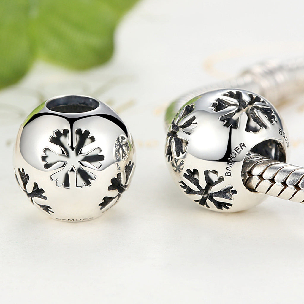 925 Sterling Silver Christmas  Winter Snowman Snowflake Openwork Beads for Charms Bracelets and Necklaces SCC070