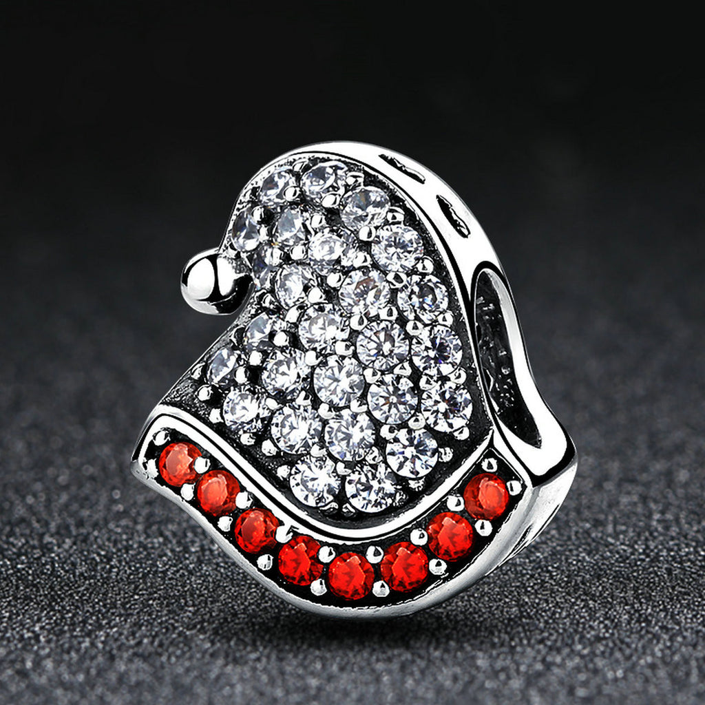 925 Sterling Silver Pendant Necklace Christmas Hats with Garnet red Cubic Zirconia Fits European Bracelet Choker SCC071