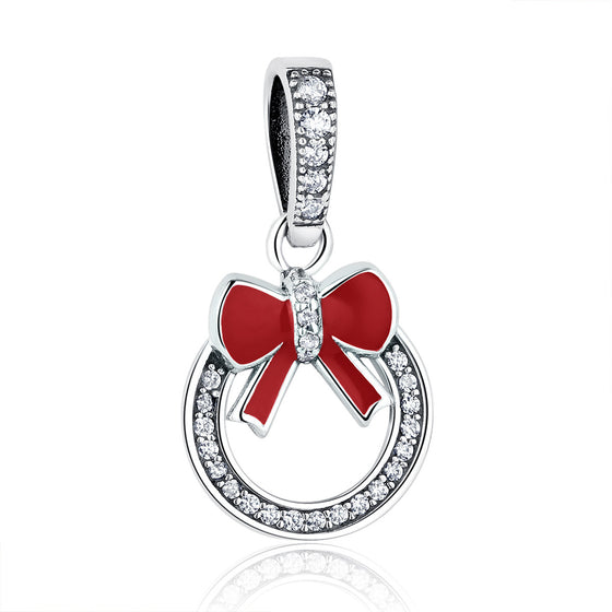 925 Sterling Silver Christmas Wreath with Red Bow Tie Pendant Sparkling Cubic Zirconia Fashion Jewelry Gift for Women  SCC077