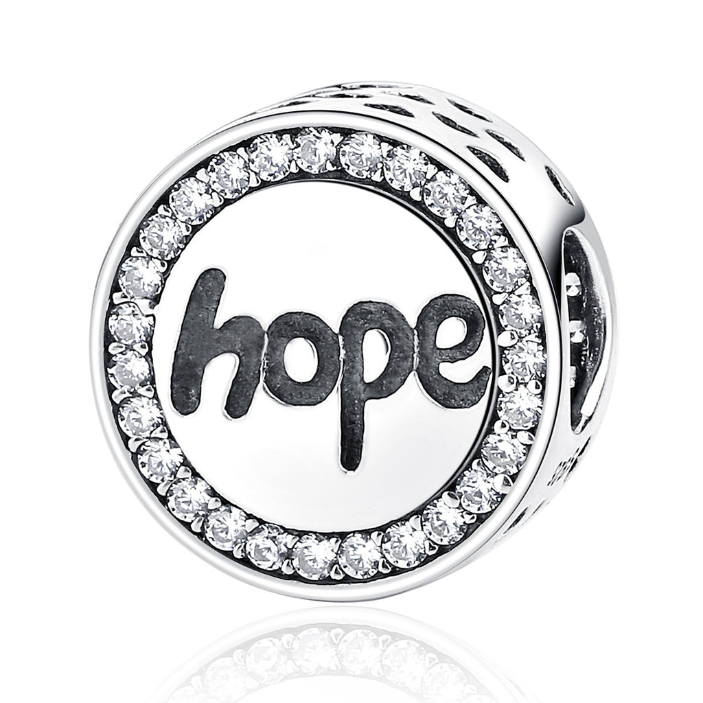 Real 925 Sterling Silver Hope Letter Alphabet Charm Charms Fit Bracelets & Necklaces For Women Fashion Jewelry SCC088