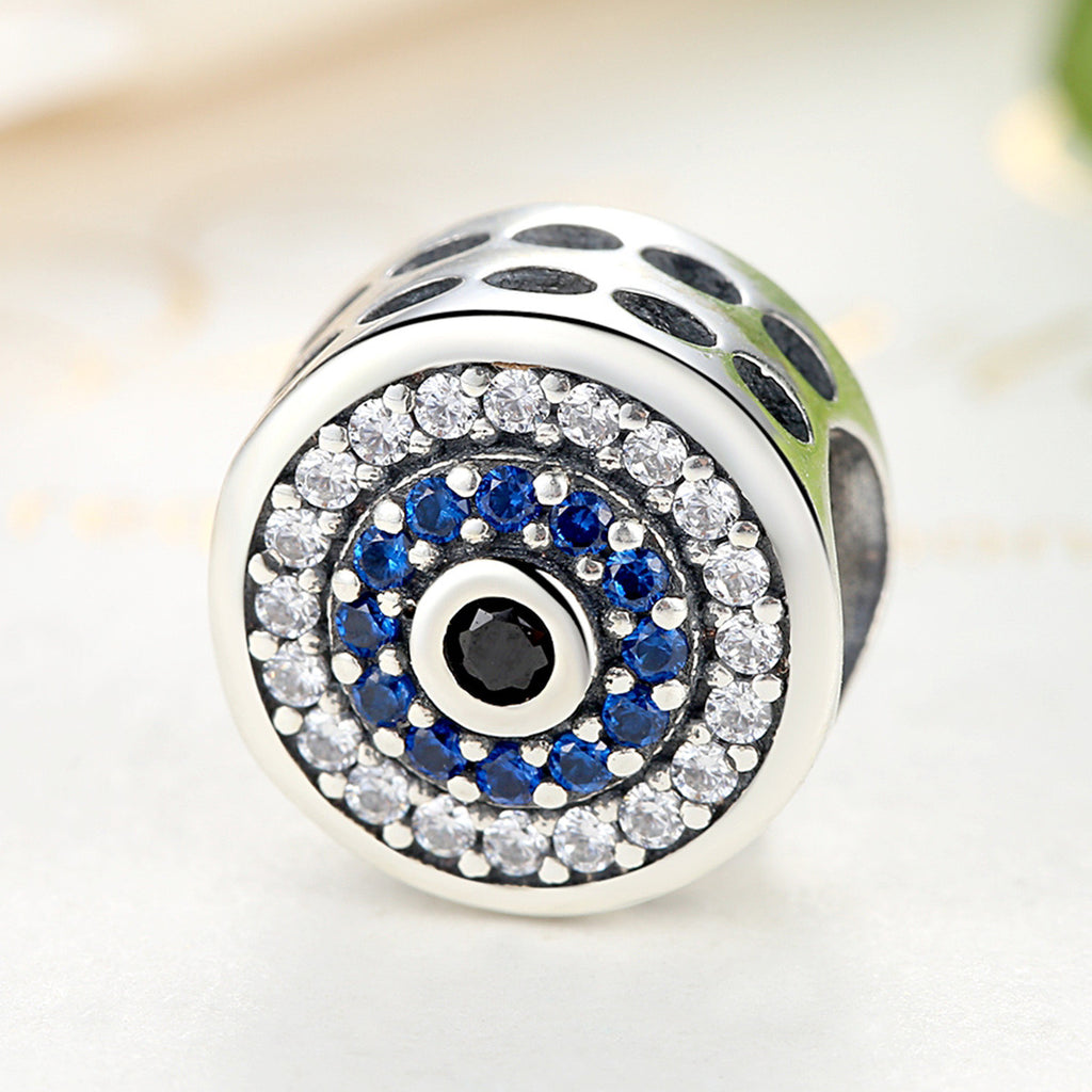 Real 100% 925 Sterling Silver Blue Crystals Eyes Round Bead Charms Fit Women Charm Bracelets & Bangles Jewelry SCC092