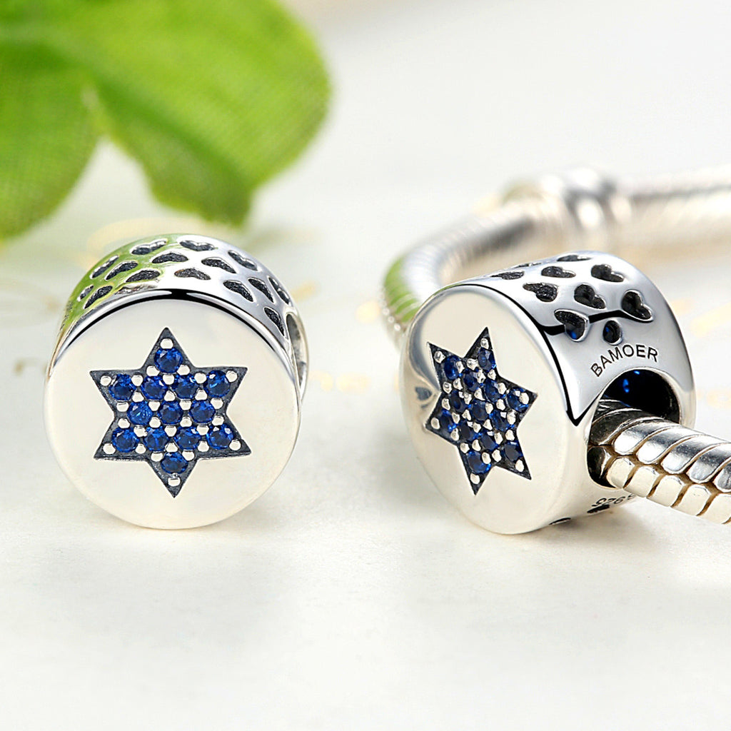 Genuine 100% 925 Sterling Silver Blue Faith Round Charms Fit Pandora Bracelets Women Beads & Jewelry Makings SCC105