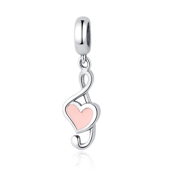 e48d7af29 Sterling Silver Pink Heart Music Pendant Charms