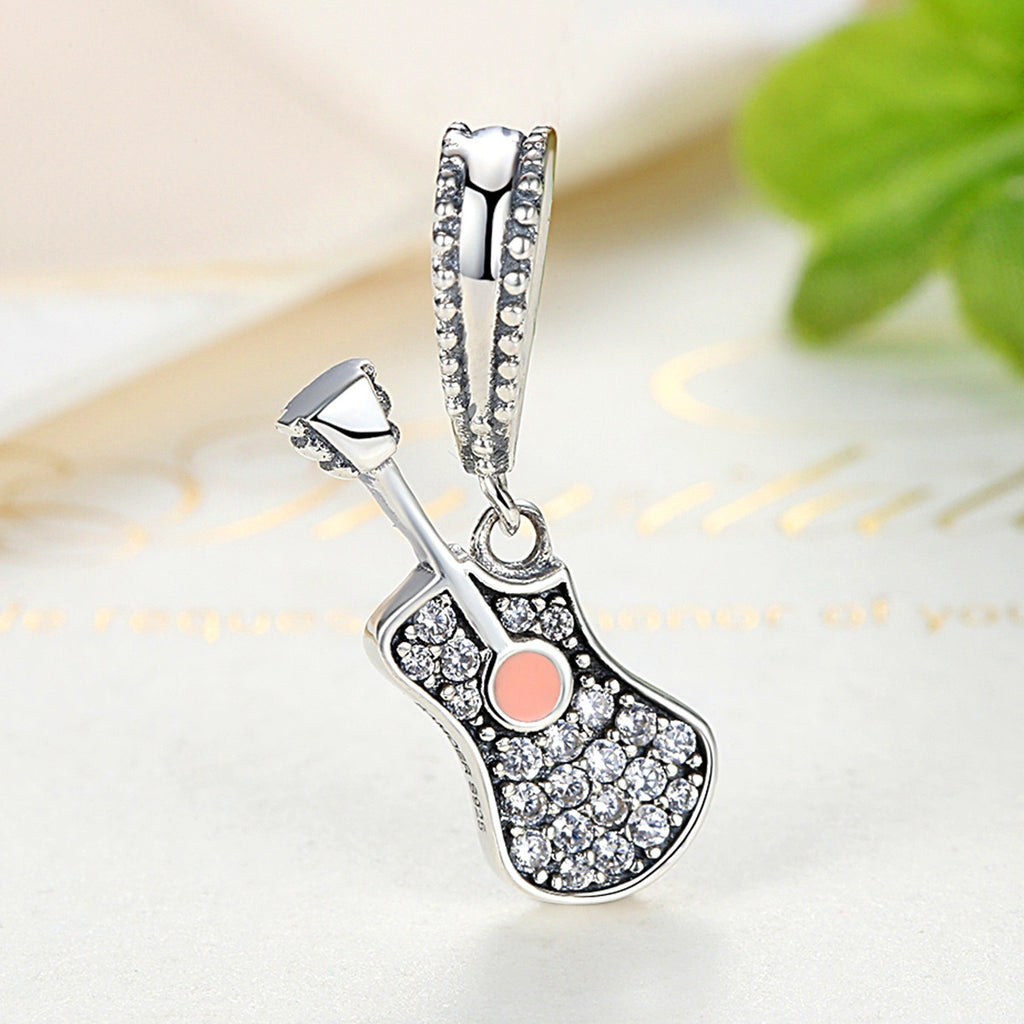 925 Sterling Silver Musical Instrument Popular Guitar Pendant Charms Fit Pandora Bracelets Women Fashion Jewelry SCC113