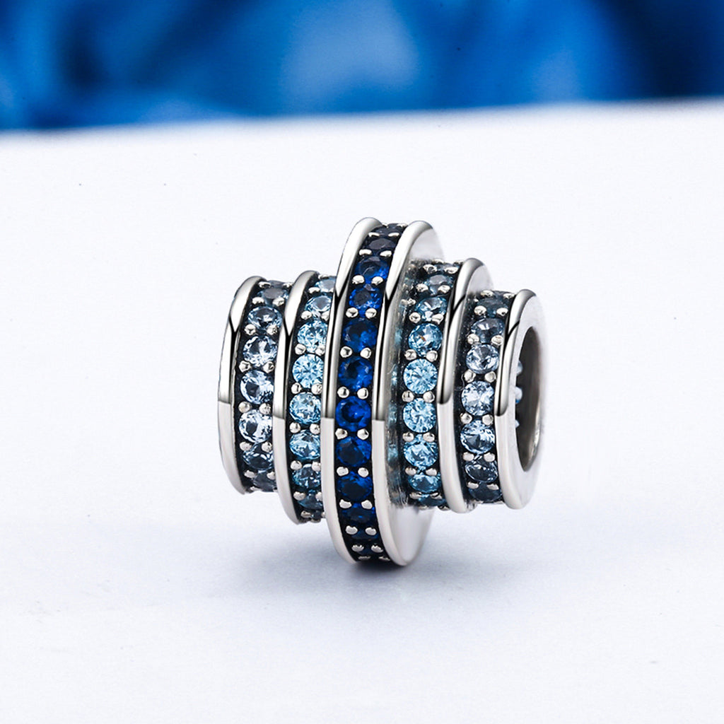 925 Sterling Silver Gradual Change Round Wheel Blue Melody Clear CZ Crystal Beads Charms fit Bracelets Jewelry SCC129