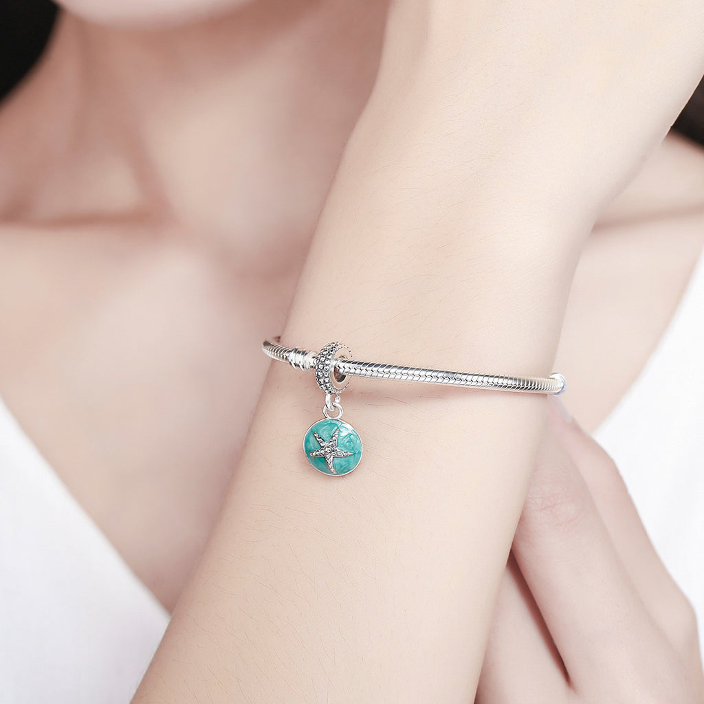 925 Sterling Silver Clear CZ Starfish & Sea Green Enamel Pendant Charm fit Bracelet Jewelry SCC136