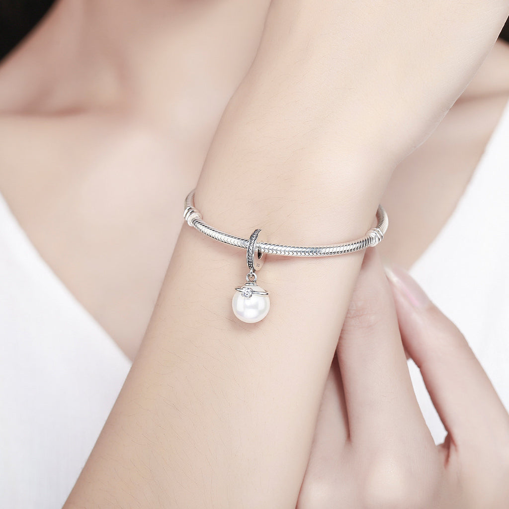 925 Sterling Silver Elegant Imitation Pearl & Clear CZ Crown Pendant Charm fit Bracelet Jewelry SCC137
