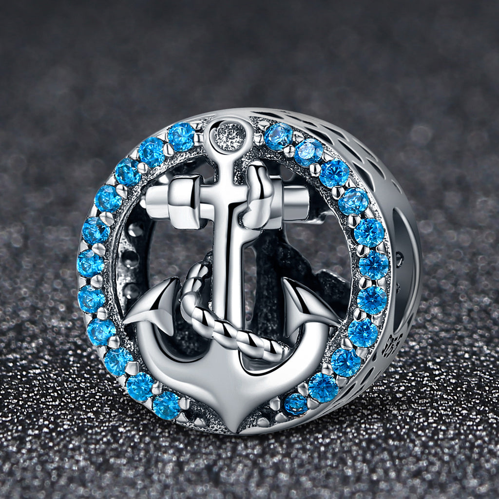 925 Sterling Silver Blue Clearly Cubic Zircon Anchor Beads fit Original Charm Bracelet Jewelry Gift SCC148
