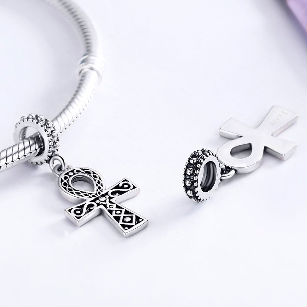 925 Sterling Silver Classic Power of Faith Cross Dangle Charms Fit Bracelets DIY Jewelry Making SCC185