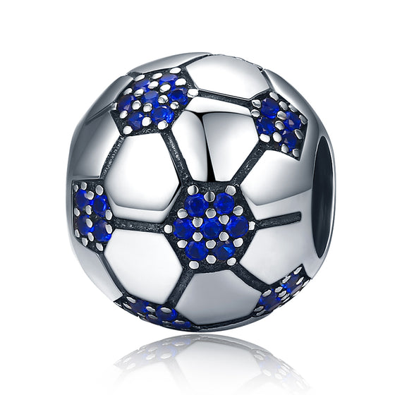 925 Sterling Silver Sport Love Passion Of Football Blue Clear CZ Beads fit Charm Bracelets Jewelry Making SCC217