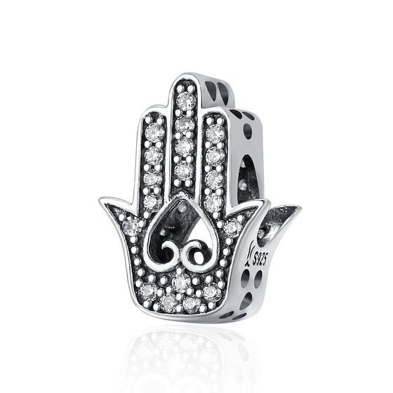 Authentic 925 Sterling Silver Good Luck Hand Of Fatima Charms fit Women Bracelets & Necklaces DIY Silver jewelry SCC225