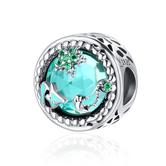 Fashion New Genuine 925 Sterling Silver Mystery Ocean Charms Beads fit Women Charm Bracelets DIY Stone Jewelry SCC246