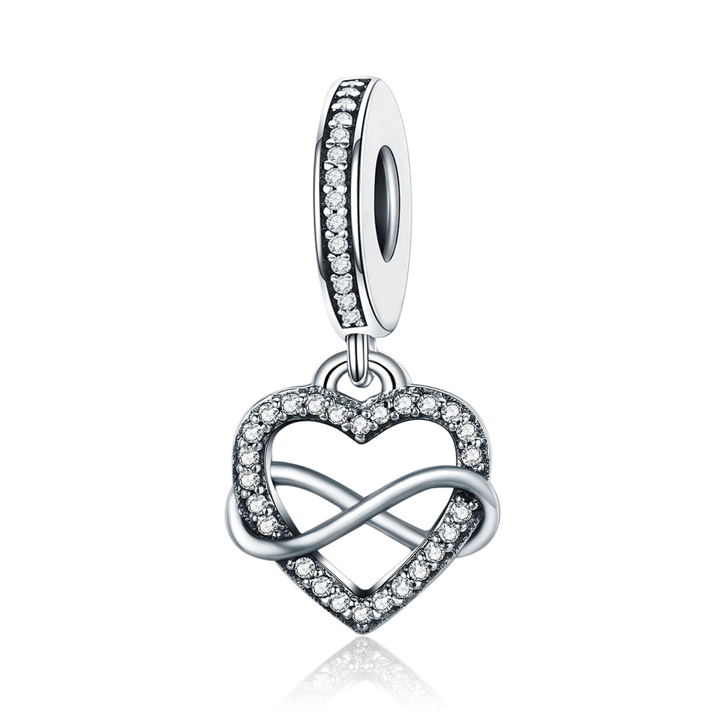 925 Sterling Silver Endless Love Infinity Heart Dangle Beads fit Charm Bracelet for Women DIY Jewelr SCC261