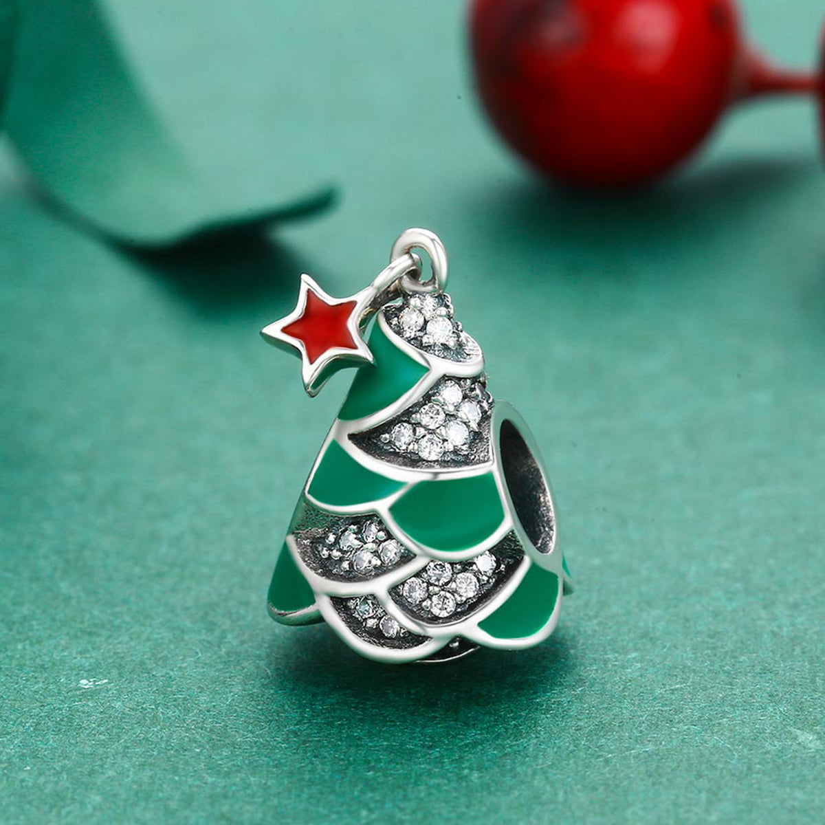 925 Sterling Silver Christmas Tree & Star Clear CZ Charm Beads fit ...