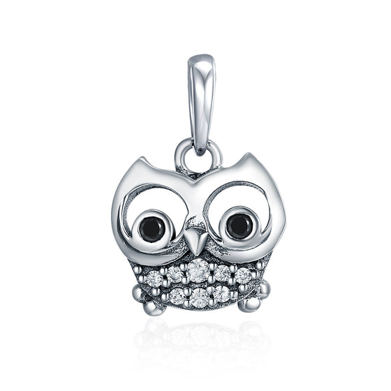 Hot Sale 925 Sterling Silver Lovely Animal Owl Pendant Charms fit Women Charm Bracelets & Necklaces DIY jewelry SCC341