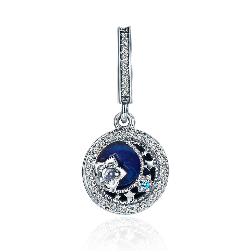 100% 925 Sterling Silver Moonlit Star Blue Enamel Pendant Charm fit Charm Bracelet Jewelry Making SCC396