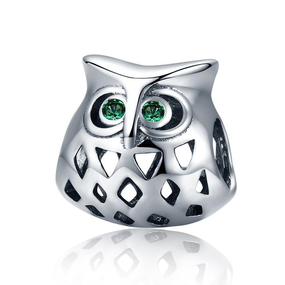 New Arrival 925 Sterling Silver Lovely Owl Openwork Clear CZ Animal Charms fit Women Bracelets Jewelry Making SCC424
