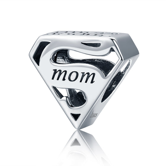 Authentic 925 Sterling Silver Super Mom Mother Engrave Beads fit Charm Bracelets & Bangles Jewelry Mother Gift SCC429
