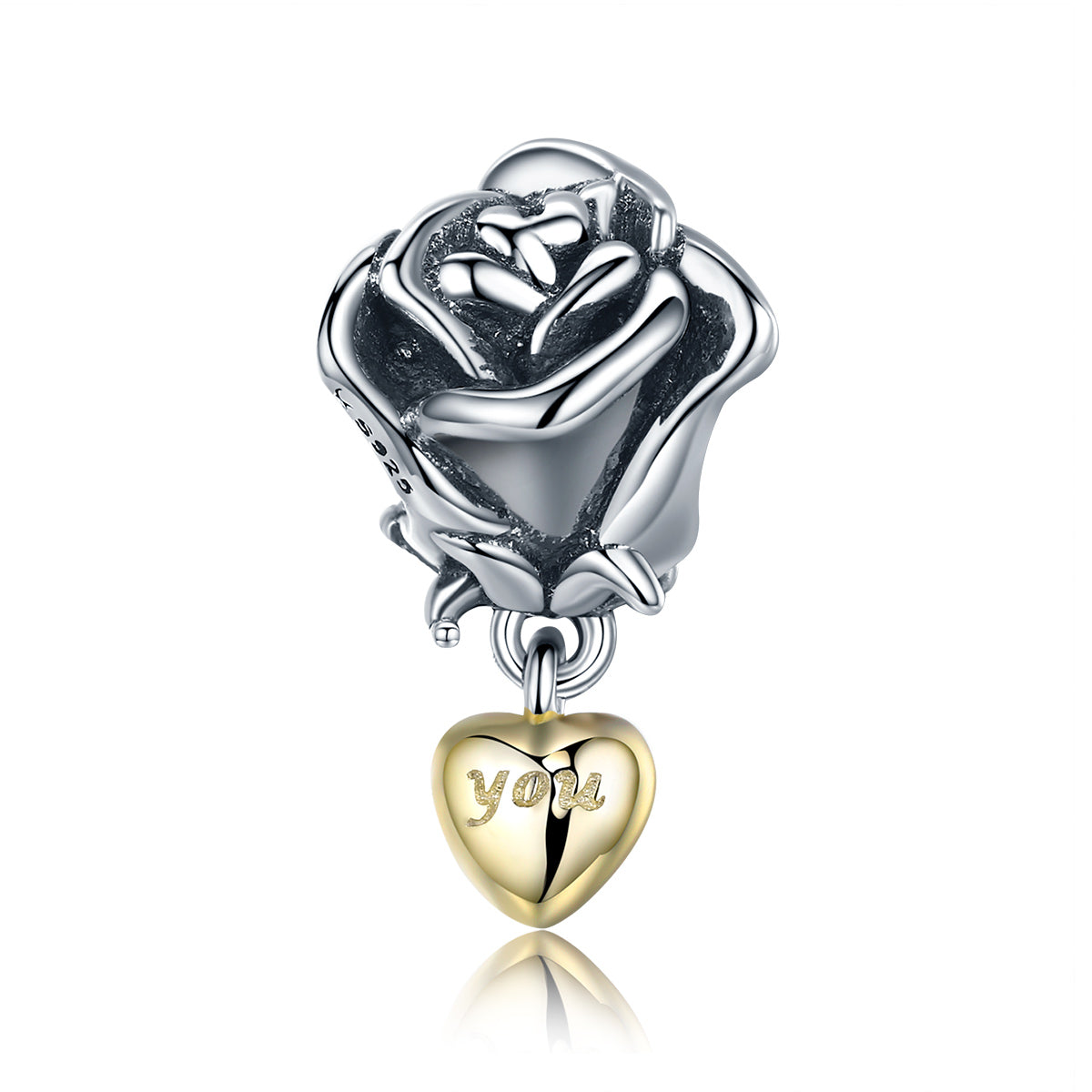 Authentic 925 Sterling Silver Rose Flower With You In Heart Dangle Charm Fit Bracelet Jewelry Valentine