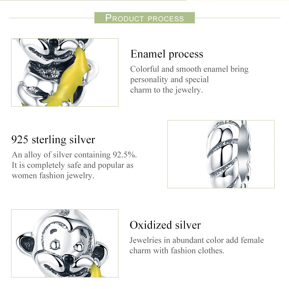 Monkey & Banana 100% 925 Sterling Silver Animal Collection Cute Monkey & Banana Love Charm fit Charm Bracelet Bangle DIY Jewellery 32jf8Qzl